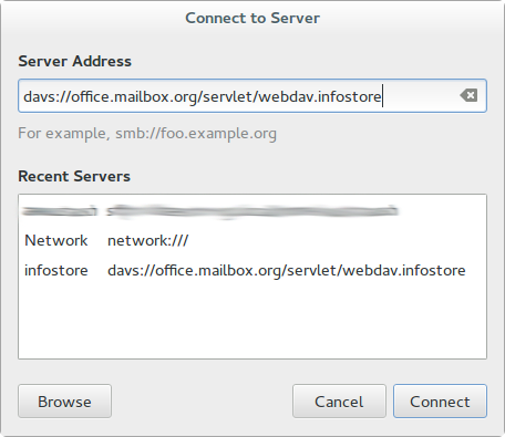 Setup of WebDav for Linux - Step 2