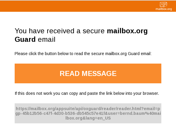 First mailbox.org Guard mail
