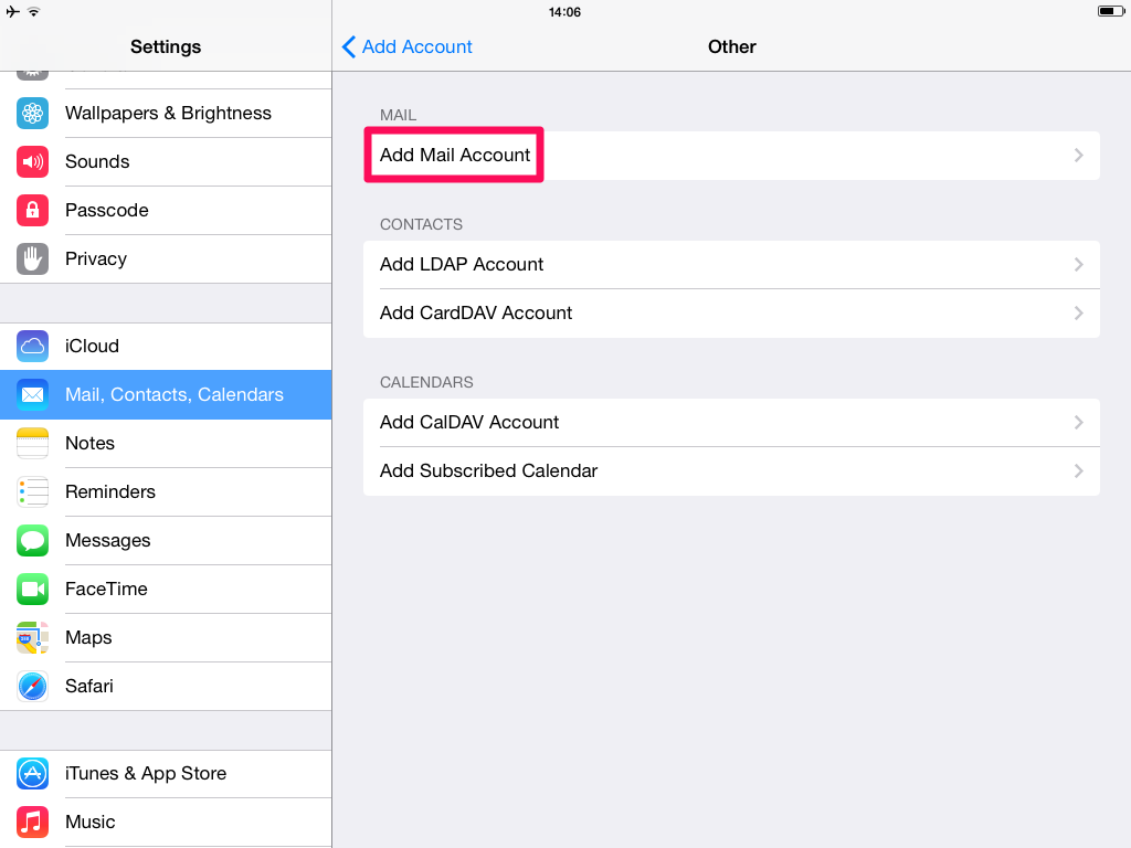 Setup with Mail.app for iOS - Add account