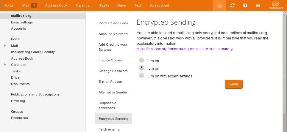 Encrypted Sending