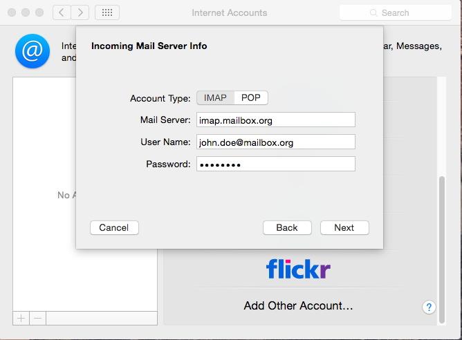 Setup with MacOS X - IMAP account