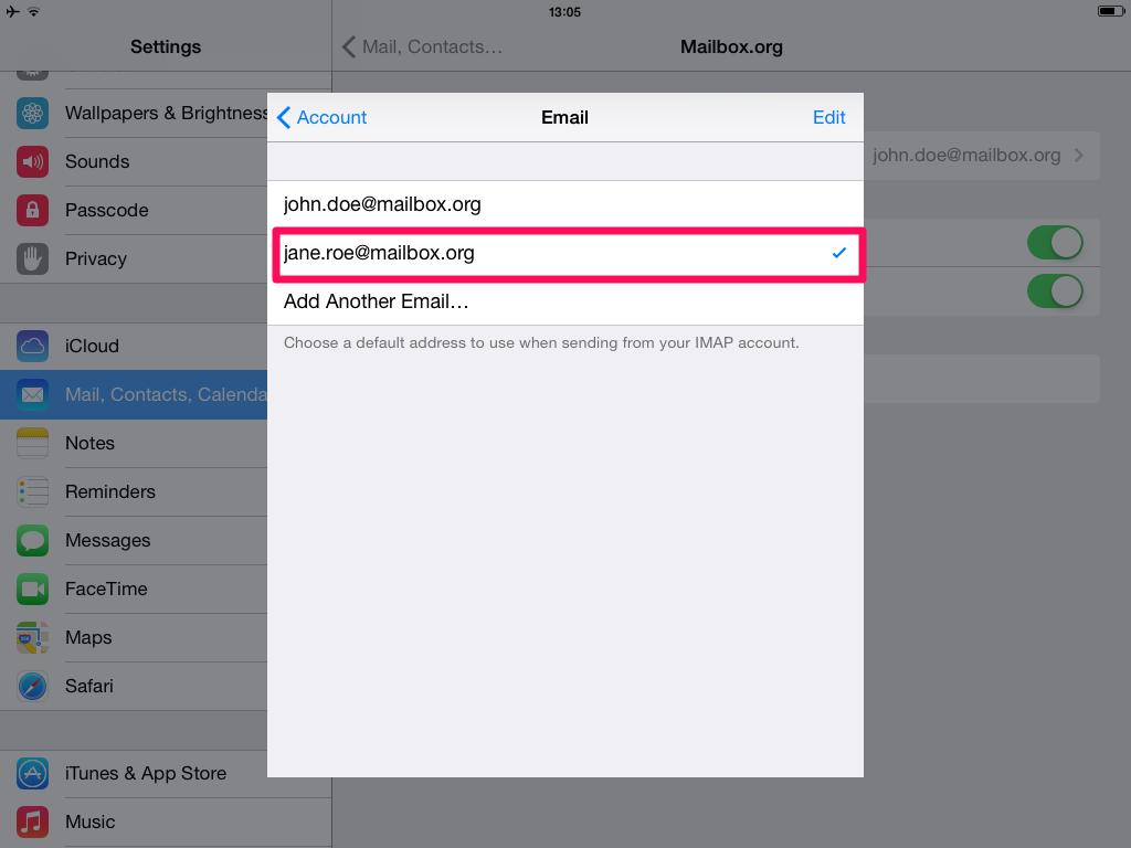 Setup alias with iOS at mailbox.org