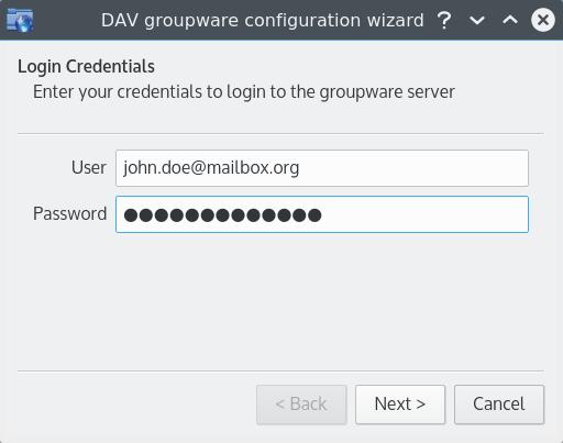 DAV groupware configuration wizard