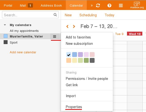 opne calendar properties