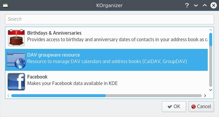KOrganizer DAV groupware resource