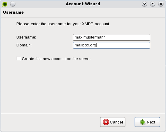 account information Tor Messenger
