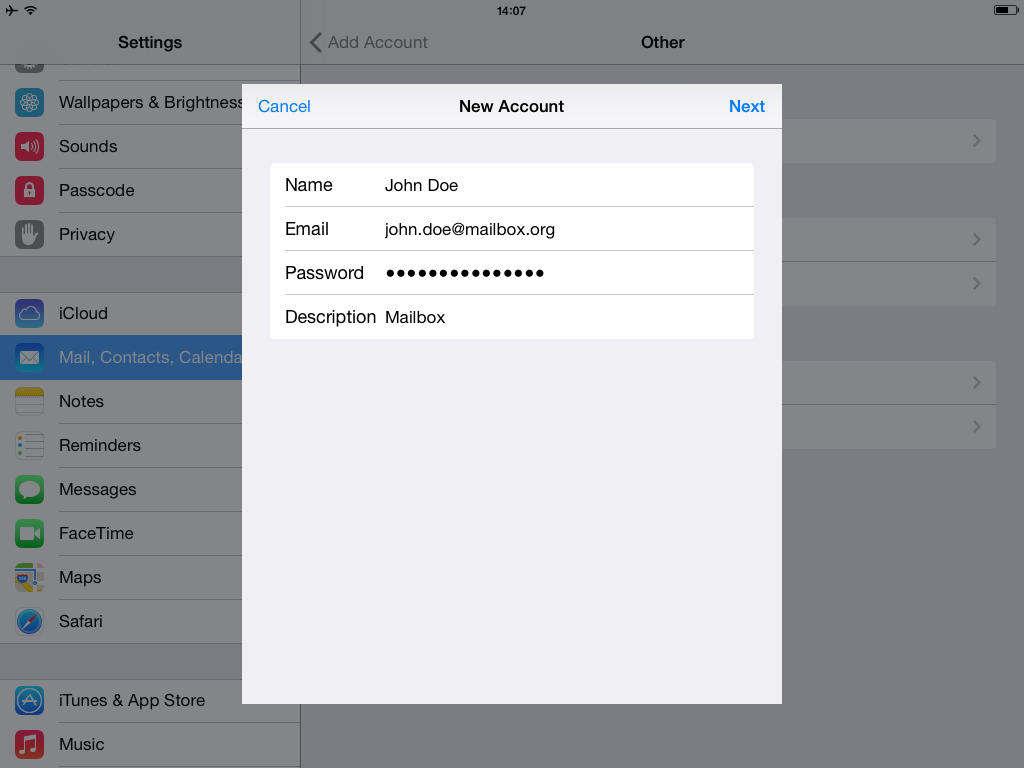 Setup with Mail.app for iOS - create account