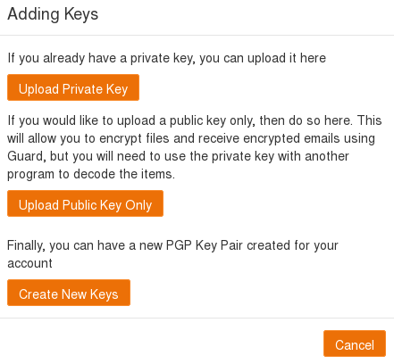 upload your own key