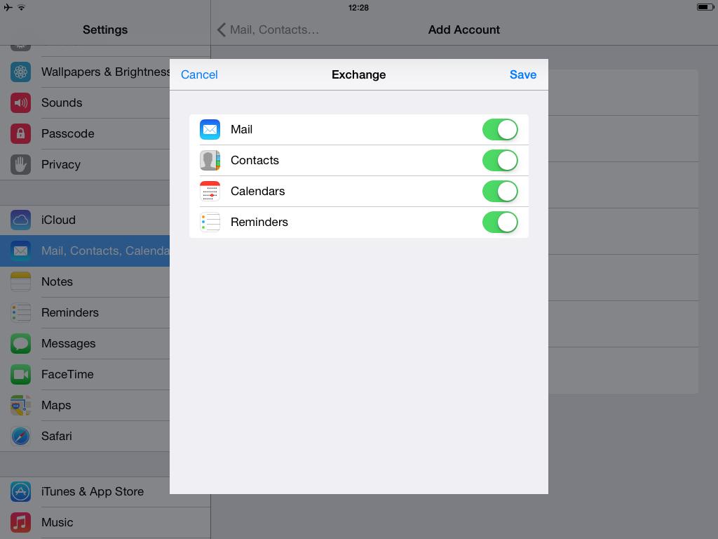 Setup ActiveSync with iOS - Step 4
