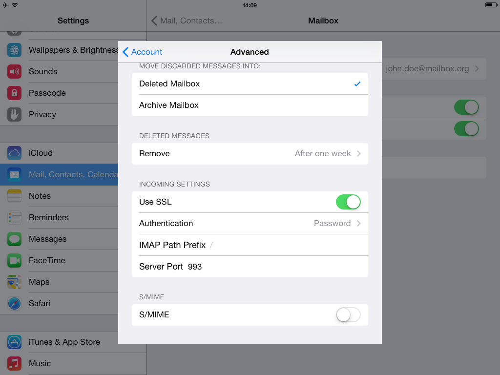 Setup with Mail.app for iOS