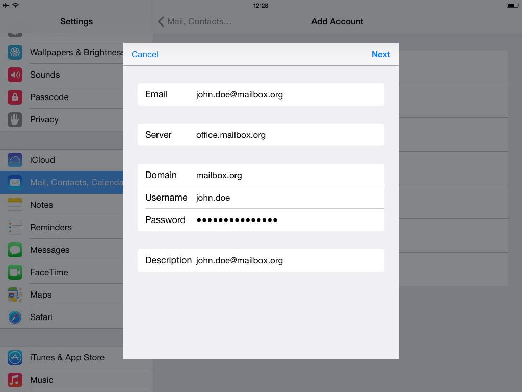 Setup ActiveSync with iOS - Step 3