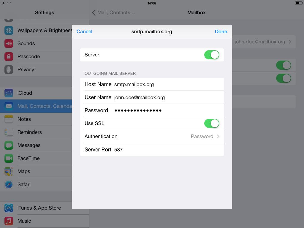 Setup with Mail.app for iOS - smtp