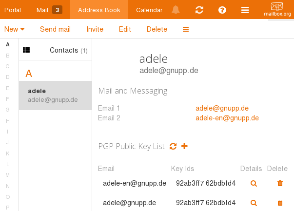 manage PGP keys with addressbook