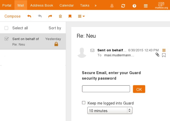 Read encrypted email with mailbox.org Guard