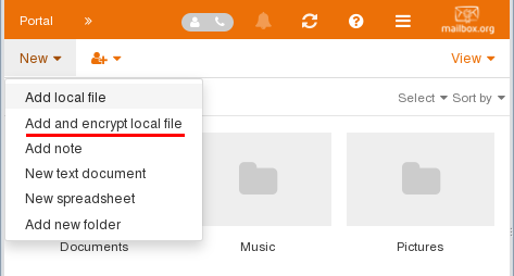 Add and encrypt local file